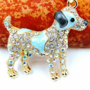 Betsey Johnson Rhinestone Enamel Puppy Necklace
